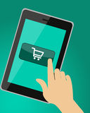 Buttons Shopping. The hand presses the button with shopping cart. Vector illustration Royalty Free Stock Photo