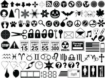 Buttons and Signs. Nearly 100 Icons, Buttons, and Signs. Includes silhouettes of speed limit signs, web buttons, horoscope signs, and other misc items Royalty Free Stock Image