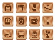 Buttons with silhouette domestic equipment icons Stock Image