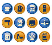 Buttons with silhouette domestic equipment icons Royalty Free Stock Images