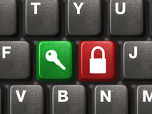 buttons säkerhet två för datortangentbordet Arkivfoto