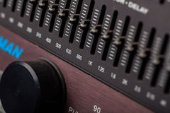 Buttons in sound studio Royalty Free Stock Photo