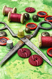 Buttons and spool of thread Stock Image