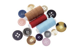 Buttons and Spools of Thread Stock Image