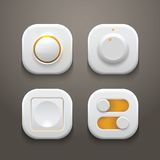 Buttons and Switches Set With Realistic Light and Stock Photos