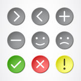 Buttons with symbols. Nine colored buttons with symbols and emoticons Royalty Free Stock Images