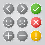 Buttons with symbols. Nine colored buttons with symbols and emoticons Stock Image