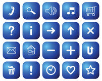 Buttons with symbols for websites. Stock Photography