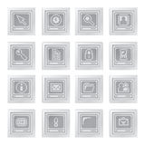 Buttons with pixel drawn icons and terminal symbol Stock Image