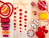 Buttons, thread and needle. Stock Image