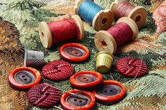 Buttons and thread royalty free stock image