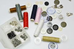 Buttons and thread Stock Photo