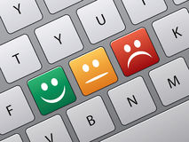 Buttons to vote on survey. Keyboard with icons to vote in on-line survey royalty free illustration