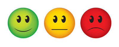 Buttons to vote on survey. Happy, straight face and sad emoticon vector illustration