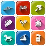Buttons with toys Royalty Free Stock Photography