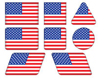Buttons with United States flag Royalty Free Stock Photos