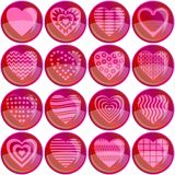 Buttons, valentine heart, set Royalty Free Stock Photography