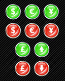 buttons valutor Arkivfoton