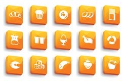 Food buttons. Vector illustration. Buttons of various kinds of food. Vector illustration Stock Photo