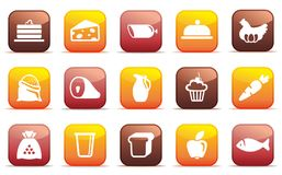 Food buttons. Vector illustration. Buttons of various kinds of food. Vector illustration Royalty Free Stock Photography