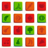 Buttons of vegetables and fruit Stock Images