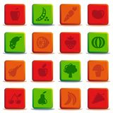 Buttons of vegetables and fruit Stock Photos