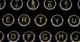 Buttons on vintage typewriter 4k stock video footage