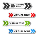 Buttons for virtual tour, black, red, green and blue labels - stickers with arrows Stock Photography
