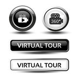 Buttons for virtual tour, black and white circular labels with camera and rectangle buttons, glossy design Stock Photos
