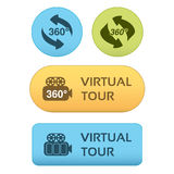 Buttons for virtual tour, blue, green and orange labels - stickers with arrows and camera Royalty Free Stock Image