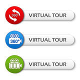 Buttons for virtual tour, red, green and blue labels - stickers with arrows and camera Stock Photography