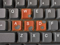Buttons WASD with burning edges. Buttons WASD on keyboard with burning edges Stock Photography