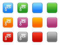 Buttons with water valve icon Royalty Free Stock Images