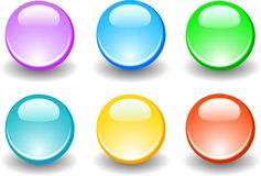 Buttons web. Color bubbles for web. Six color buttons Stock Photos