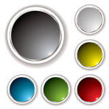 Buttons white bevel. Six button set with white bevel and various colored inserts Stock Images