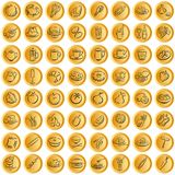 Buttons whith food symbols. Golden plastic buttons with food symbols. Available as full editable illustrator-file Royalty Free Stock Photos