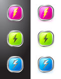 Buttons With Lighting Symbols Royalty Free Stock Images