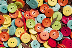 Buttons on the wood chips Royalty Free Stock Image