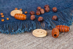 Buttons and wooden beads Royalty Free Stock Images