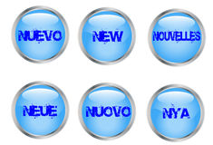 Buttons with the word new Stock Image