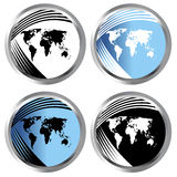 Buttons with world maps Royalty Free Stock Image