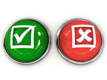 Buttons Yes No. On white background. 3D Stock Photo