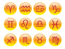 Buttons with zodiac signs Stock Image