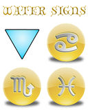 Buttons zodiac water. Set buttons signs water of the zodiac Royalty Free Stock Images
