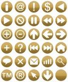 Buttonset Gold Stockbilder