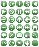 buttonsetgreen Arkivfoto