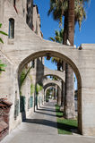 Buttress perspective. Concrete buttress - perspective. Catholic mission in California Royalty Free Stock Photos