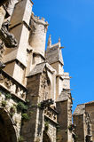 Buttresses 1. Buttresses of the Cathedral of Narbonne seen from the cloister on a sunny morning Stock Photo