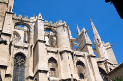 Buttresses 2. Buttresses of the Cathedral of Narbonne seen from the cloister on a sunny morning royalty free stock photography