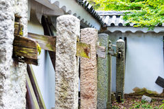 Buttresses inside the walls, Japanese castle. Buttresses of wood and stone holding upo the outer walls of Nijo Castle, Kyoto, Japan Royalty Free Stock Images